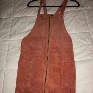 Corduroy overall dress with front pockets